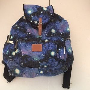Pink Victoria's Secret galaxy canvas backpack